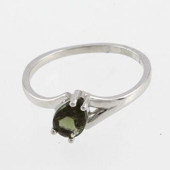 Fazettált moldavit csepp ezüst  gyűrű