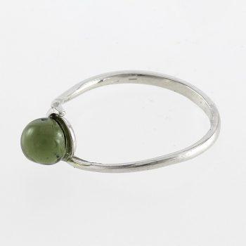 Moldavit golyós ezüst gyűrű