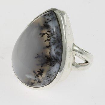 Ezüst gyűrű tájkép acháttal