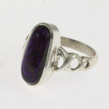 Áttört ezüst gyűrű szugilittal