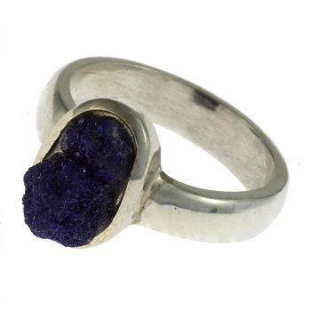 Azurit drúza ezüst gyűrűben