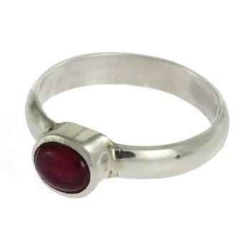 Rubellit ezüst gyűrűben