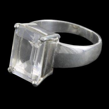 Köves ásványi ékszer ezüst gyűrű fazettált hegyi kristály kővel