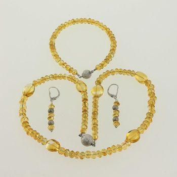 Citrin nyaklánc ezüst medállal, karkötő és patent fülbevaló