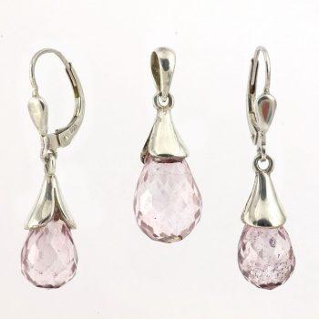 köves ásványi ékszer rózsaszín kvarc medál és fülbevaló