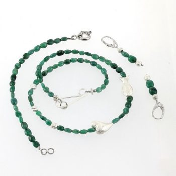 köves ásványi ékszer smaragd kavicsok garnitúra