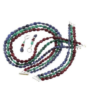 köves ásványi ékszer rubin-smaragd-zafír garnitúra