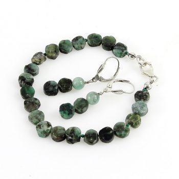 köves ásványi ékszer smaragd karkötő és fülbevaló