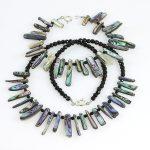 Köves ásványi ékszer Paua kagyló onix nyaklánc karkötő
